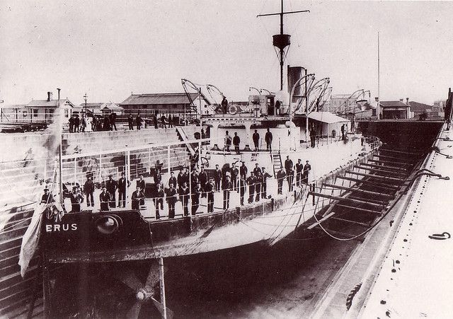 Her Majesty's Victorian Ship Cerberus, built in 1868, photographed at Alfred Dock, Williamstown in 1879