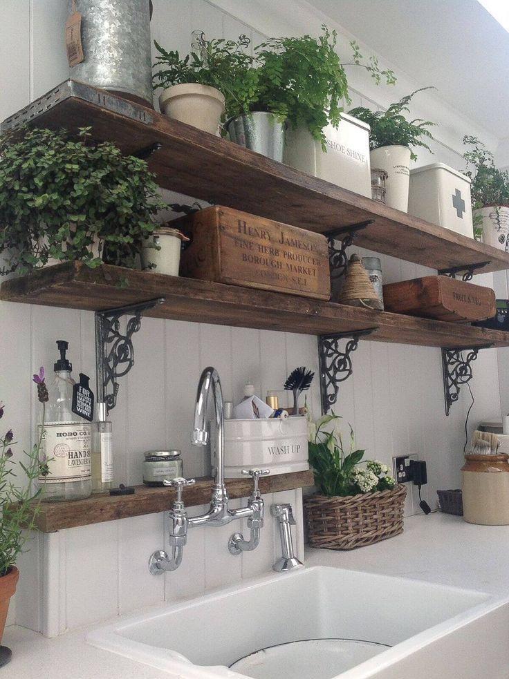 Rustikale hölzerne Küchenregale mit in Büchsen konservierten Farnen
