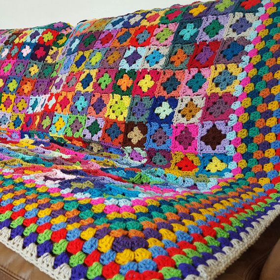 Mini Granny Squares BLANKET Afghan 70 x 60 by Thesunroomuk
