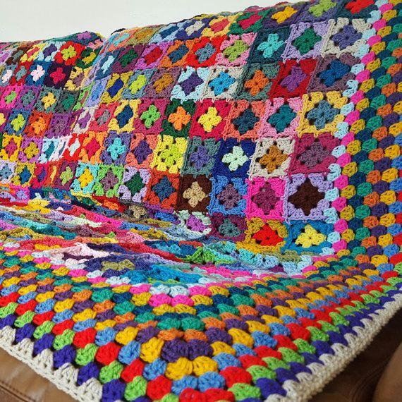 Mini Granny Squares BLANKET Afghan In Stock 70 x by Thesunroomuk