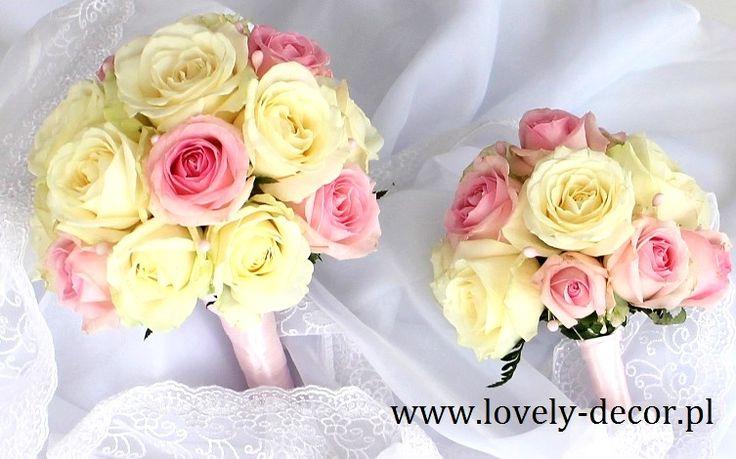 Bukiet ślubny - różowe i białe róże #wedding #ślub #flowers #kwiaty #florystyka