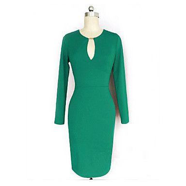 Dolce Women's V Neck Belt Green Bodycon Dress - CAD $ 17.85
