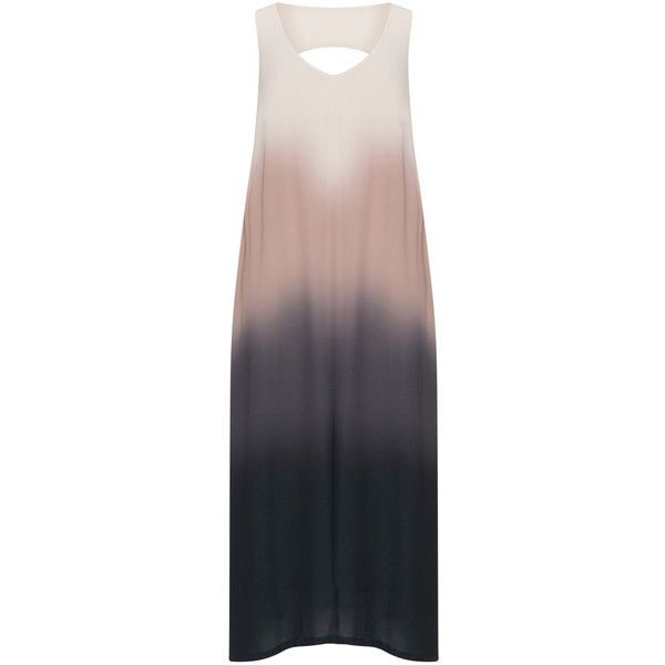 Mat Beige / Multicolour Plus Size Ombré maxi dress (100 CAD) ❤ liked on Polyvore featuring dresses, beige, plus size, plus size dresses, v neck maxi dress, plus size special occasion dresses, summer maxi dresses and women plus size dresses