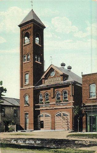 1908 Vintage Postcard Fire Hall Station ORILLIA Ontario Canada