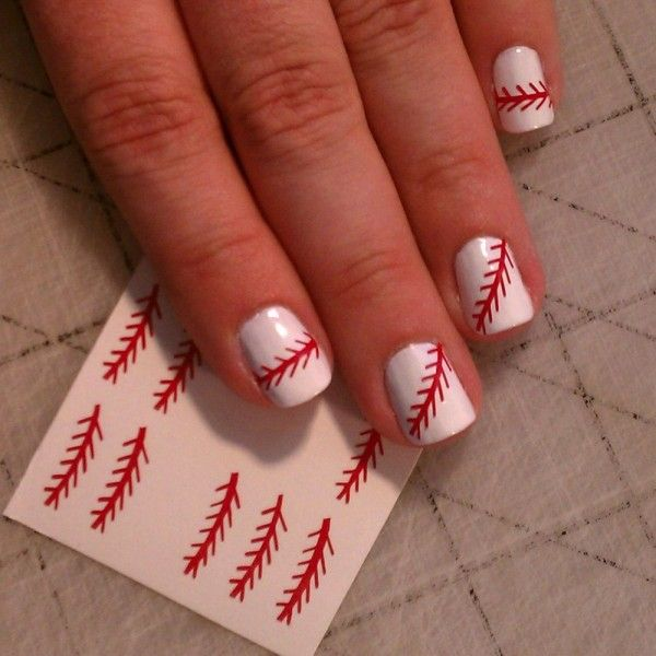 Appealing Red Trees Decal Motif On Clean White Nail Art Design Idea - Red Nail Art  #prom white nail art