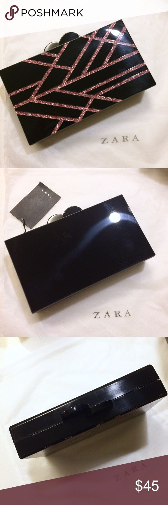 Black Pink Glitter Acrylic Evening Clutch Bag New with tags! This minaudière bag is a good size because your iPhone will fit into it! Detachable snake chain. Design reminds me of Edie Parker's acrylic bags. There are some light scratches and smudges here and there, but nothing obvious. NO TRADES!! 🚫🚫🚫 Zara Bags Clutches & Wristlets