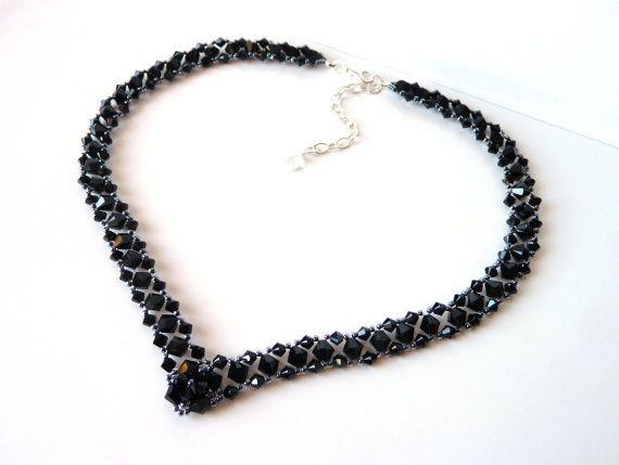 Black Beaded Jewelry Necklace Prom Jewelry Black Wedding