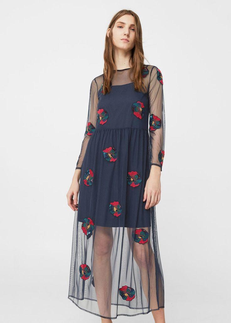 Vestido tul bordado - Vestidos de Mujer | MANGO México