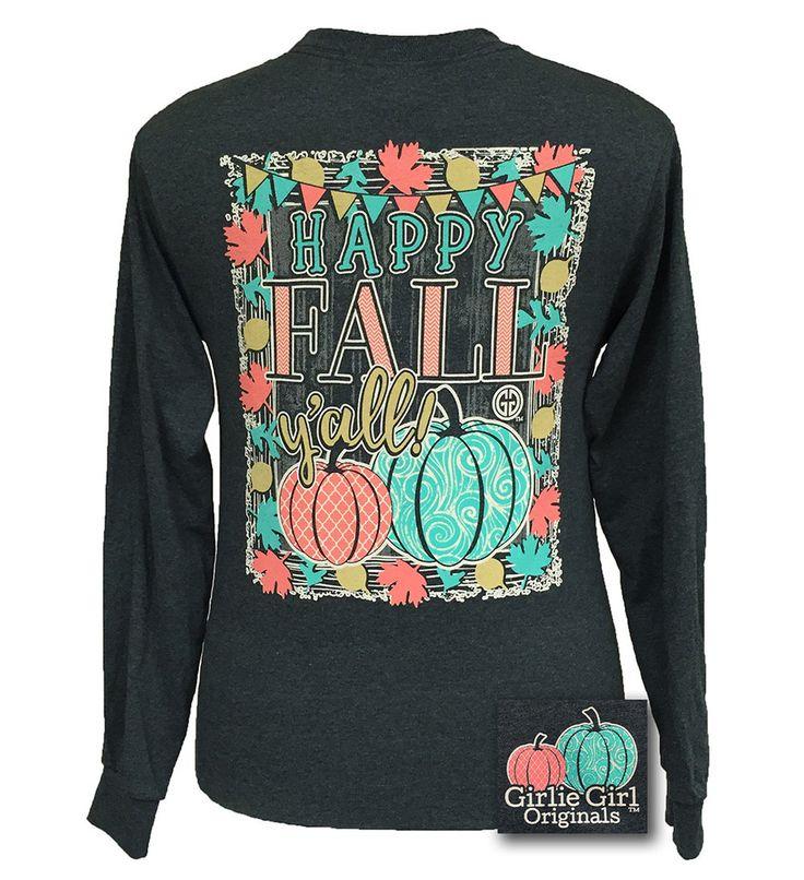 Girlie Girl Originals Preppy Happy Fall Yall Pumpkin Halloween Long Sleeve Bright T Shirt