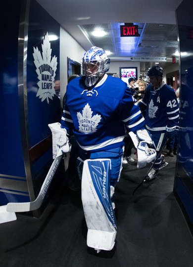 TORONTO, ON - FEBRUARY 9: Frederik Andersen #31 of the Toronto Maple Leafs heads to the ice for warm up before playing the St. Louis Blues at the Air Canada Centre on February 9, 2017 in Toronto, Ontario, Canada. (Photo by Mark Blinch/NHLI via Getty Images)