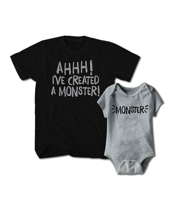 Look at this Black 'Monster' Tee & Heather Gray Bodysuit - Men & Infant on #zulily today!