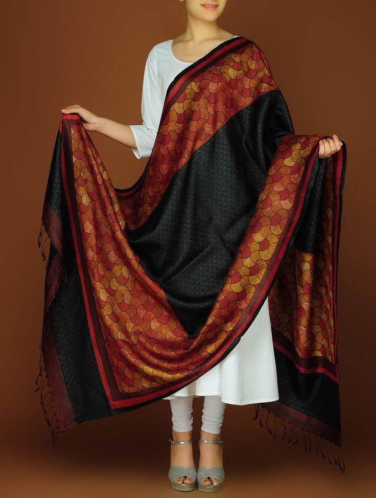 Buy Red Black Silk Block Printed Dupatta Accessories Dupattas A Class Apart Colorful Sarees and Online at Jaypore.com