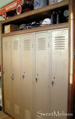 Repurposed lockers with reclaimed wood trim to finish off the edges...via http://junk-fest.blogspot.com