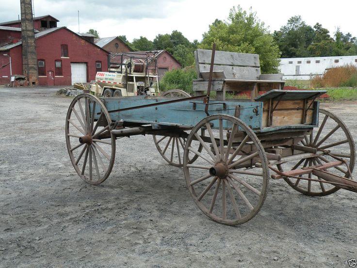 Primitive Antique Blue Painted Wood Horse Drawn Market Wagon Farm Equipment #NaivePrimitive