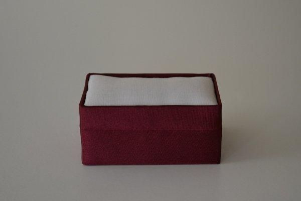 SBSrect.09 - Small Rectangular - Wine - Satin covered and lined boxes make it so easy for you to create a special gift or precious keepsake. Embellish your fabric as you desire, cover the removable, padded lid with your worked fabric and replace into the box lid. The box measures 9 x 6.5cm.