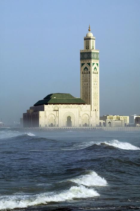 islamic-art-and-quotes:  Islamic architecture – Morocco – Hassan II Mosque From the collection: IslamicArtDB» Hassan II (Hasan Ath-Tha...