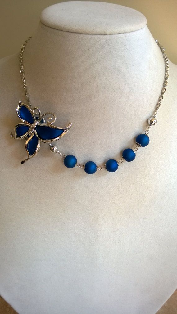 Butterfly necklace  Royal blue necklace  bridesmaid wedding