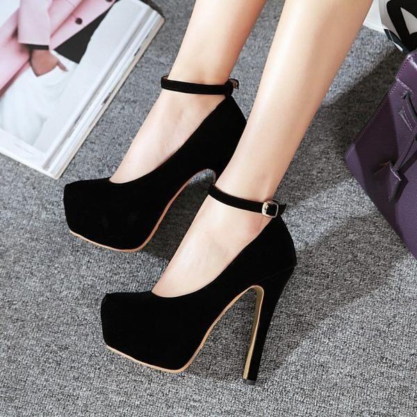 5406718e6c56 Ankle Strap Flock Platform High Heel Shoes Woman 8682 Ankle Straps
