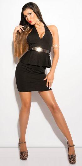 Vestido Peplum Negro Fashion.  Espectacular Vestido Peplum Negro Fashion, Un precioso modelo ajustado en color negro, atado al cuello y con cinturón a juego. !Un modelo muy sexy