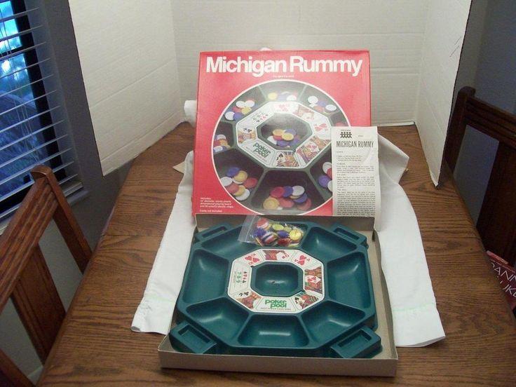 1980 Pressman Michigan Rummy Green Plastic Tray Bag of Chips Rules USA #Pressman