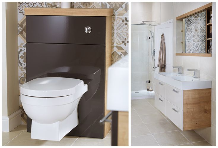 Fabulous with eton oak, cocoa gloss complements the feature wall which is tiled in bohemian beige #youmodular #bathroomfurniture #myutopia