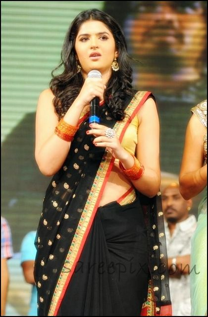 Deeksha_seth_black_georgette_saree_at_Nippu_audio_launch
