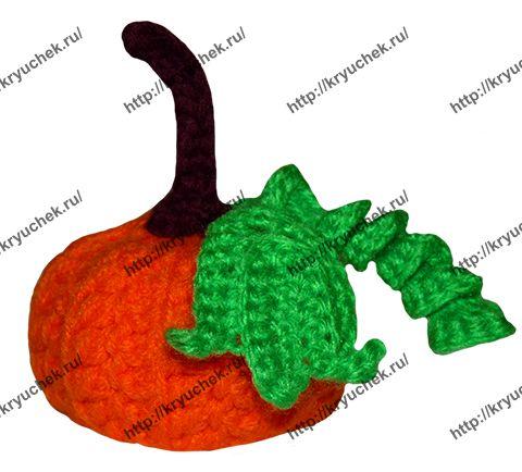 Пример связанной крючком тыквы на Хэллоуин