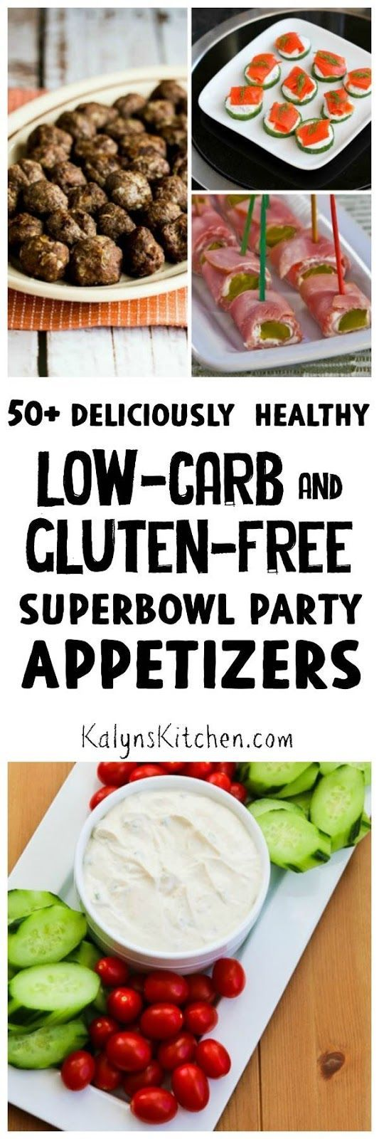 If you're limiting carbs for weight loss or health reasons, Superbowl parties can be challenging! Here are 50+ Deliciously Healthy Low-Carb and Gluten-Free Superbowl Appetizer Recipes to give you some alternatives. These are recipes from some of the best blogs on the web, enjoy! [found on KalynsKitchen.com]