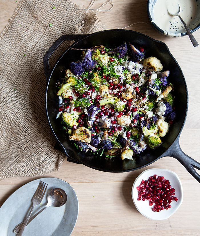 broccoli + cauliflower + pomegranates with tahini | what's cooking good looking