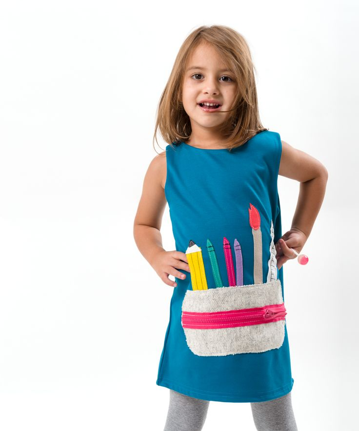 Pencil Case applique dress,handmade dress,girls dress,winter to spring dress,unique design dress by marvie