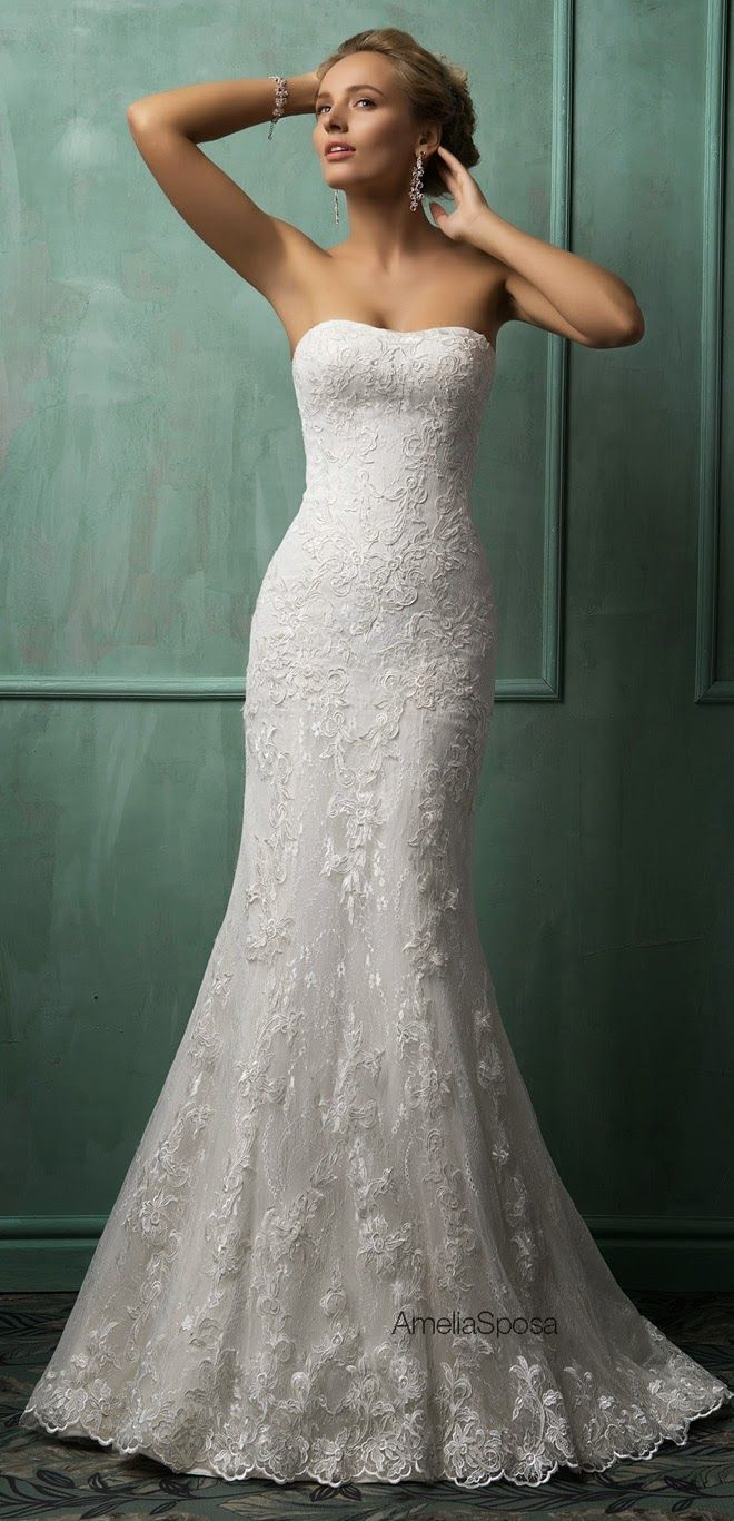 Amelia Sposa 2014 Wedding Dresses. Gorgeous strapless lace bridal gown