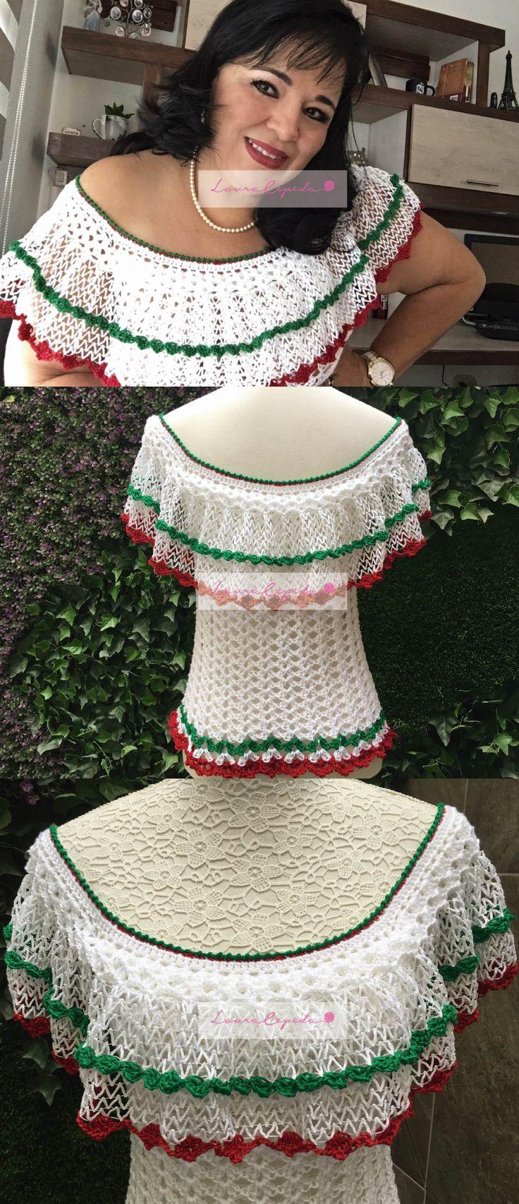 Hermosa blusa tejida para lucirla en las fiestas patrias. // Knitted garment with Mexican party theme.
