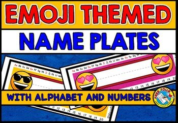 EMOJI NAME PLATES WITH ALPHABET AND NUMBERS 1-20  These adorable emoji themed name plates are a great tool for any classroom! Simply print, write the children's names and laminate.  This pack contains 12 different name plates with an emoji theme. Each name plate contains numbers 1-20 and also the alphabet (both upper of lowercase letters). THE VOWELS ARE DEPICTED IN A DIFFERENT COLOR THAN THE CONSONANTS.