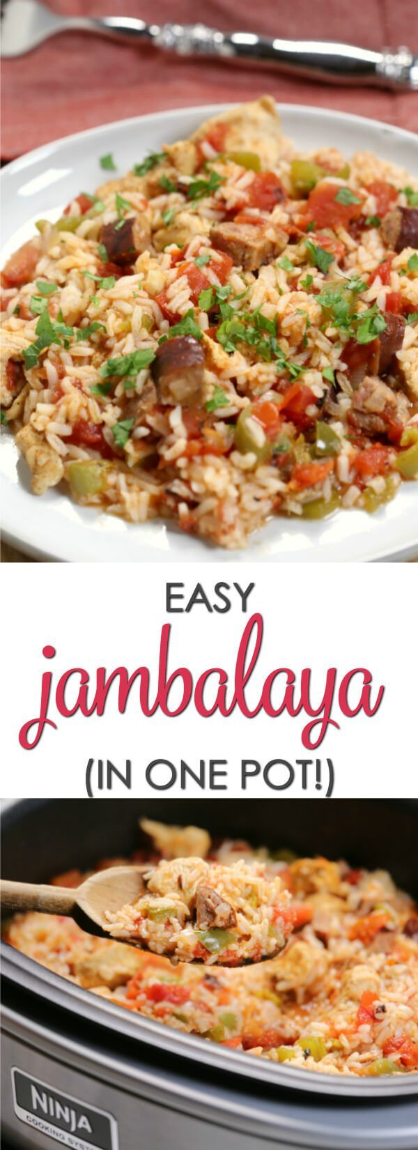 This easy Louisiana Jambalaya Recipe is perfect for busy nights. With very little hands-on time it's easy to make and packed with flavor. #NinjaDeliciousDoneEasy  #NinjaPartner #onepot