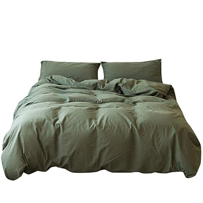 Mkxi Bedding Sets Dark Green Natural 100 Washed Cotton Duvet Cover Set With Zipper Cloure Simple Style Queen Duvet Cover Sets Bedding Sets Cotton Duvet Cover