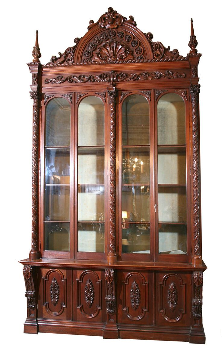 Antique gothic revival furniture for sale - American Gothic Bookcase Crawford Riddell 1854