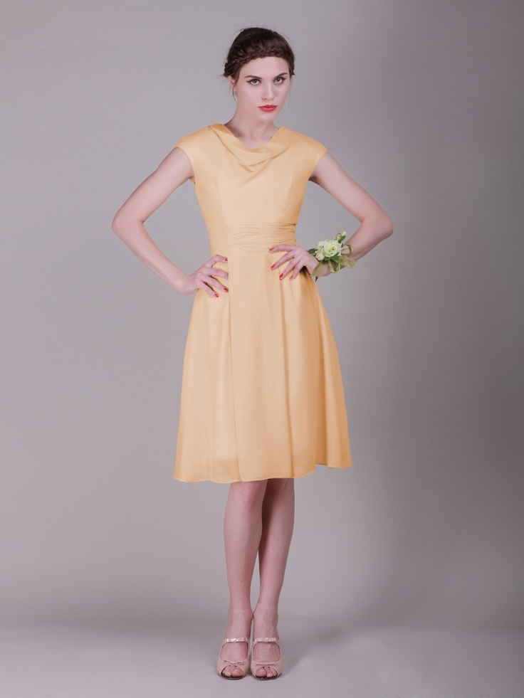 Simple cowl neck chiffon vintage bridesmaid dress plus for Wedding dresses petite sizes