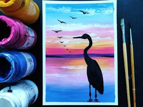 Easy Poster Colour Painting For Beginners Acrylic Painting Step By