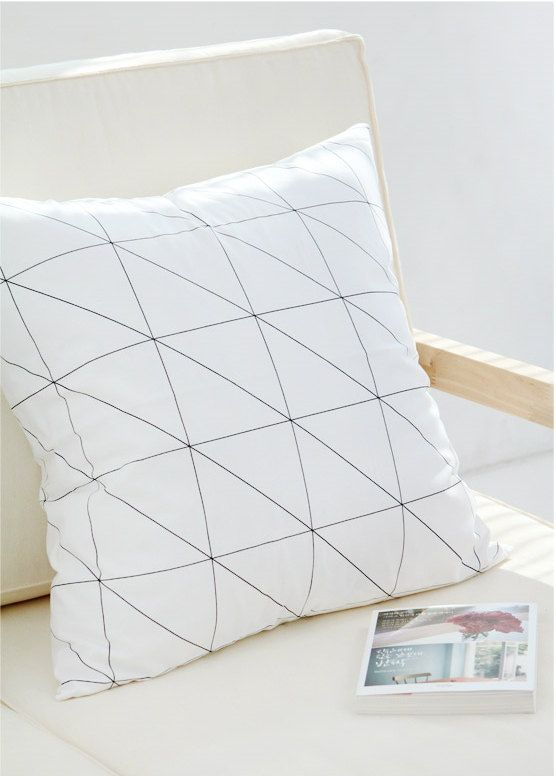 Black Line Geometric Pillow cover Black and White by gridastudio