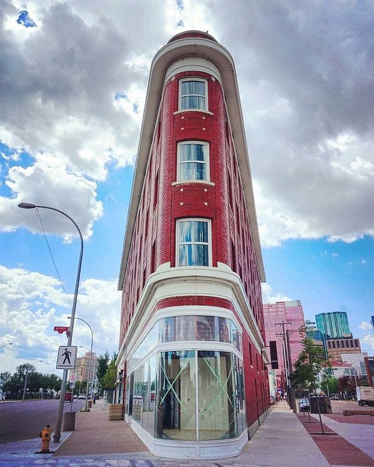 The flat iron building in downtown Edmonton, AB, Canada