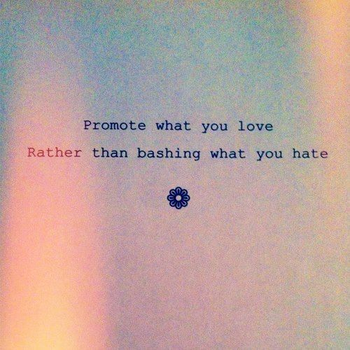 Promote what you love rather than bashing what you hate   Anonymous ART of Revolution {must always remember this. always!}