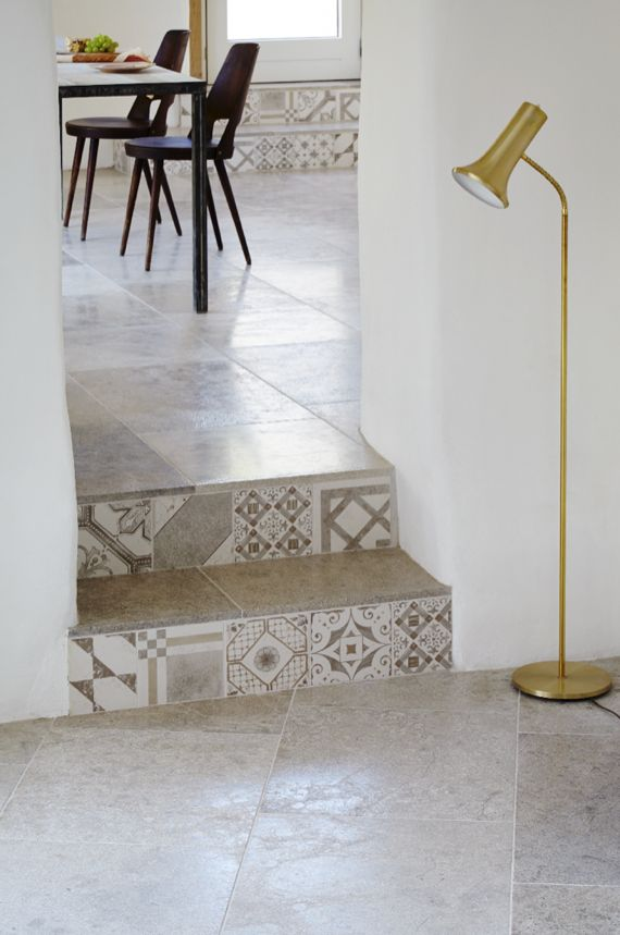Blenheim Grey Brushed limestone with Palladio Grey Mix decorative tiles as step risers...Love this combination. From mandarin Stone.