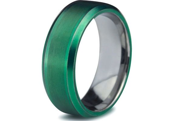 Green Tungsten Ring Green Men Tungsten Rings Green Wedding