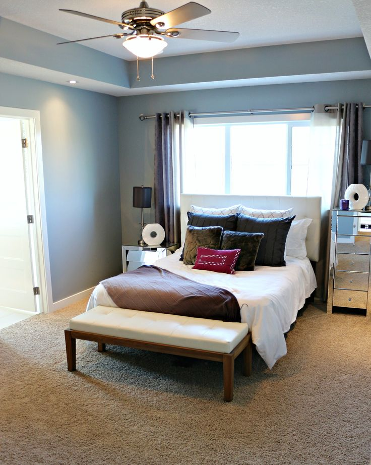 Mater bedroom with tray ceiling.