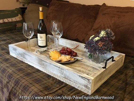 Rustic Farmhouse Ottoman Tray Wooden Serving Tray With Handles Large Ottoman Tray Wood Ser Country Decor Rustic Farmhouse Serving Trays Wooden Serving Trays