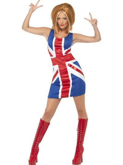 Ginger Spice -asu. Voit täydentää asun Ginger Spicen peruukilla. Girl Power!