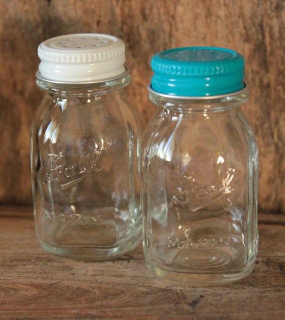 Vintage - Miniature Mason Jar Salt and Pepper Shakers - 1970's