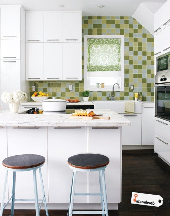 Kitchen: Bright Tiny Kitchen Design With Marble Kitchen Bar White Cabinet  And Green Wall Tiles, Tiny Kitchens, Small Kitchen Design ~ Cool Interior  ... Part 89