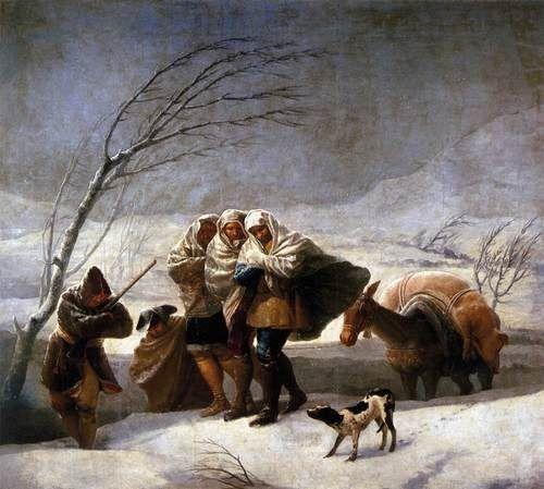 GOYA Y LUCIENTES, Francisco de  The Snowstorm  1786-87  Oil on canvas, 275 x 293 cm  Museo del Prado, Madrid
