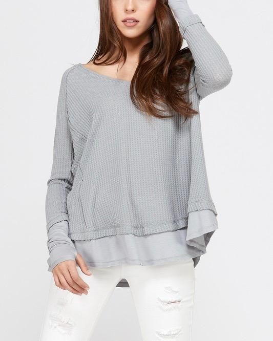 daee4ffad7f0 Thumb hole long sleeve layered v neck waffle knit thermal sweater top -  grey in 2019 | { shophearts.com } | Waffle knit, Long sleeve, Ruffle blouse